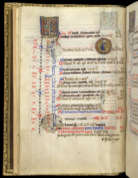 June, With An Illuminated Roundel, In The Calendar Of The Felbrigge Psalter